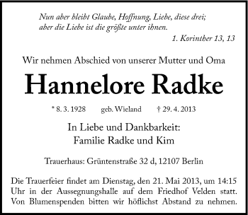 Zur Gedenkseite von Hannelore Radke