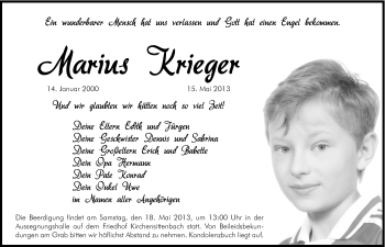 Zur Gedenkseite von Marius Krieger