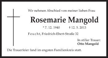Zur Gedenkseite von Rosemarie Mangold