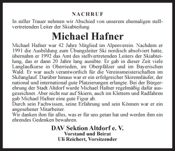 Zur Gedenkseite von Michael Hafner